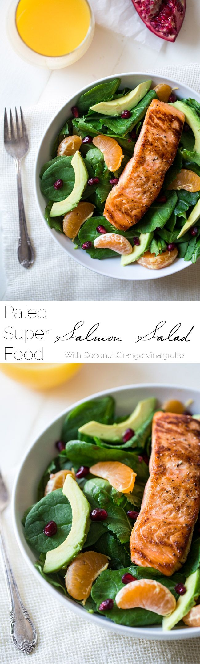 Superfood Kale & Salmon Salad With Coconut Orange Vinaigrette - A simple salad with 7 different superfoods that is so easy and paleo friendly! Perfect for a healthy, weeknight meal! | Foodfaithfitness.com | #recipe