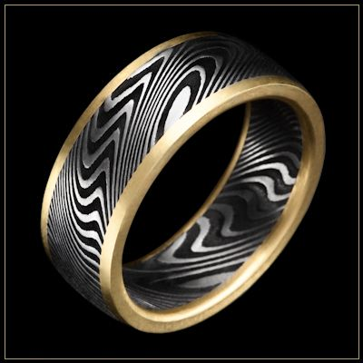 Spectacular JET Damascus Steel Men us Wedding Ring with Thor pattern and K Royal Yellow Gold