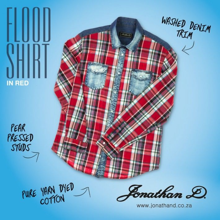 The check trend continued. Jonathan D's Flood Shirt is made from 100% yarn dyed cotton with a washed denim trim and pearl press studs.