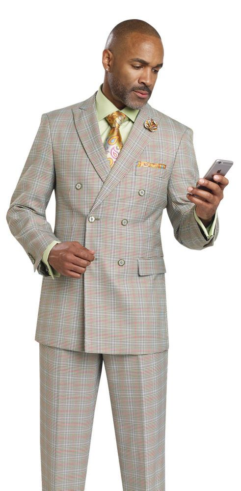 New EJ Samuel 1920's Double Breasted 2 Piece Plaid Mens Grey Suit M2704 Checked  | Clothing, Shoes & Accessories, Men's Clothing, Suits | eBay!