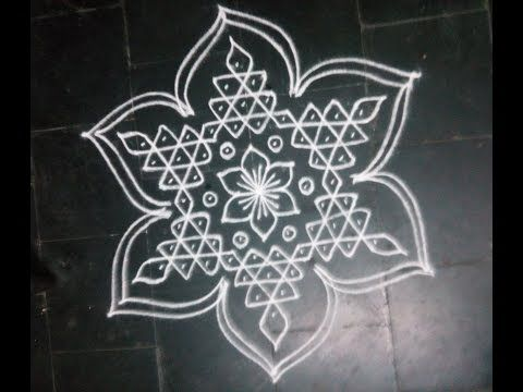 SIMPLE DOTTED KOLAM with 7-4 DOTS FOR NAVARATHRI - YouTube