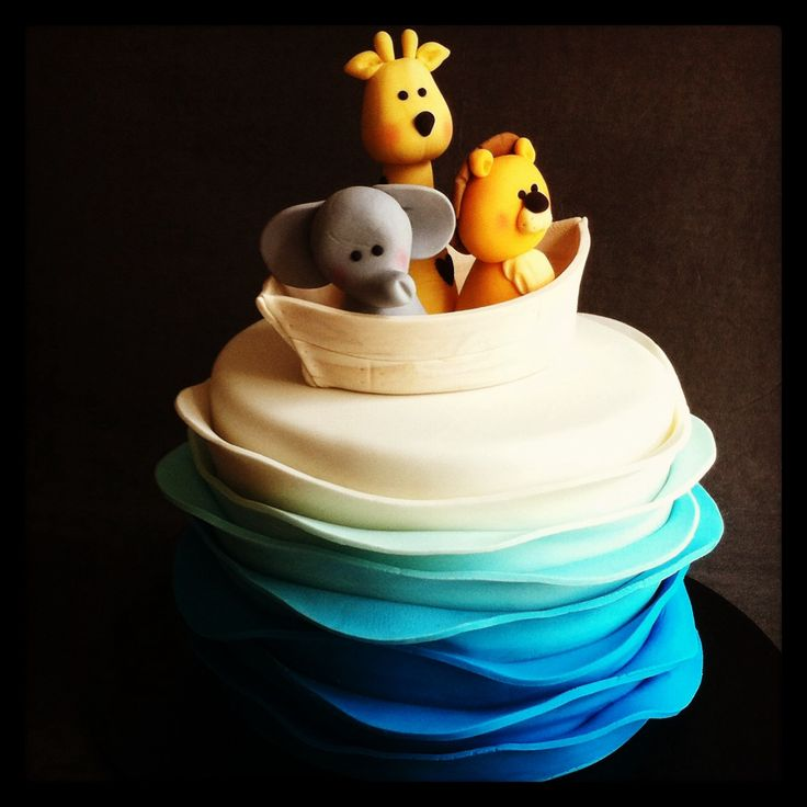 Blue ombré wave Noah's ark themed christening cake with handmade fondant animals - Cakes by Lou