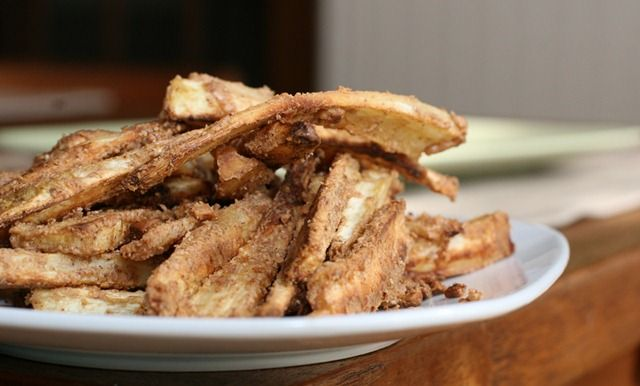 Whoa...nut butter-crusted parsnip fries. YUM.