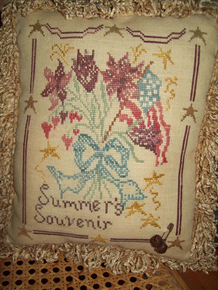Cross Stitch pillow: Blackbird designs pattern.
