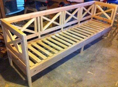 Outdoor Bench | Do It Yourself Home Projects from Ana White.....could  make into a sectional too