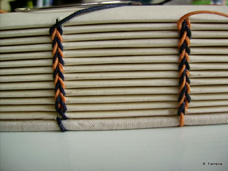 Ethiopian Coptic binding or coptic with 2 needles and two colors of thread