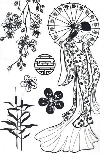 coloriage japon, coloriage japonaise, coloriage mode Japon,