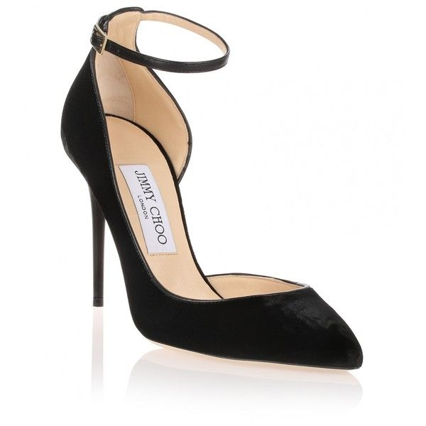 Jimmy Choo Lucy black velvet d'Orsay pump found on Polyvore featuring shoes, pumps, heels, scarpan, black, black d orsay pumps, heels stilettos, black ankle strap pumps, d'orsay pumps and black high heel pumps