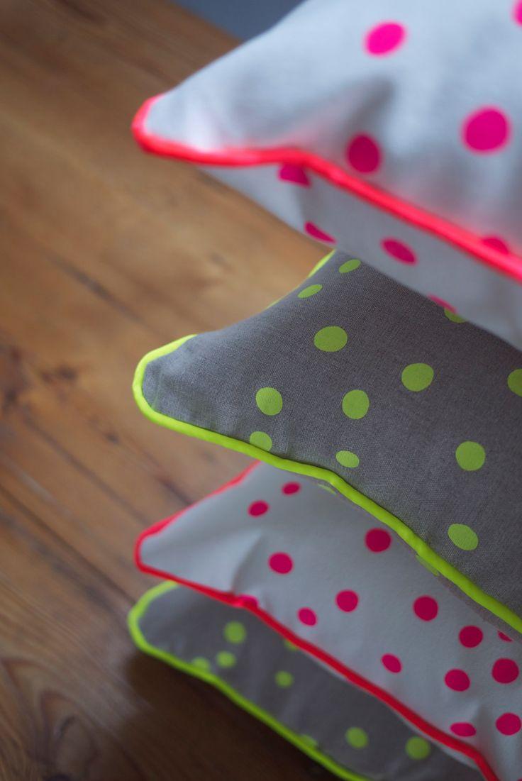 Neon Pink Spot Canvas Cushion.