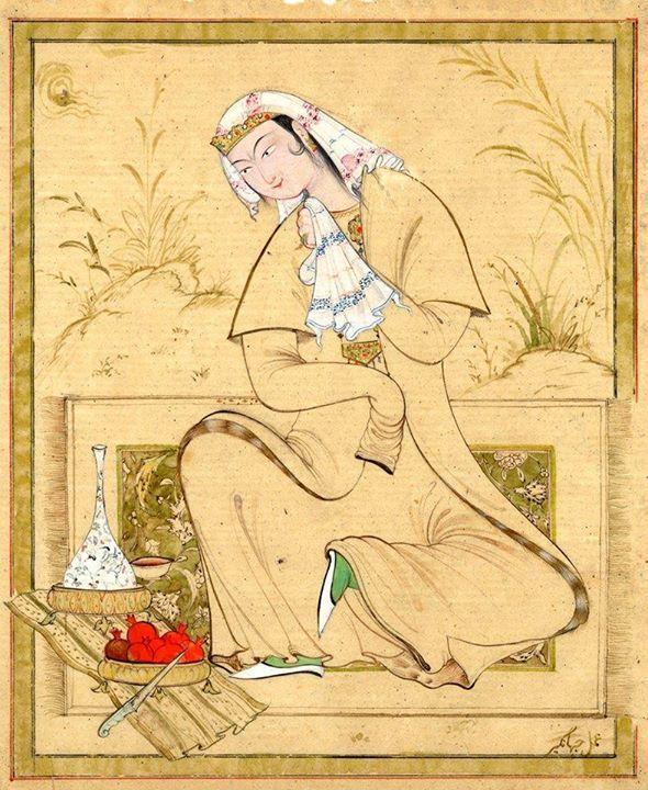 young woman, Jahongir Ashurov, Cihangir Aşurov, Bukhara miniature, tek figür.