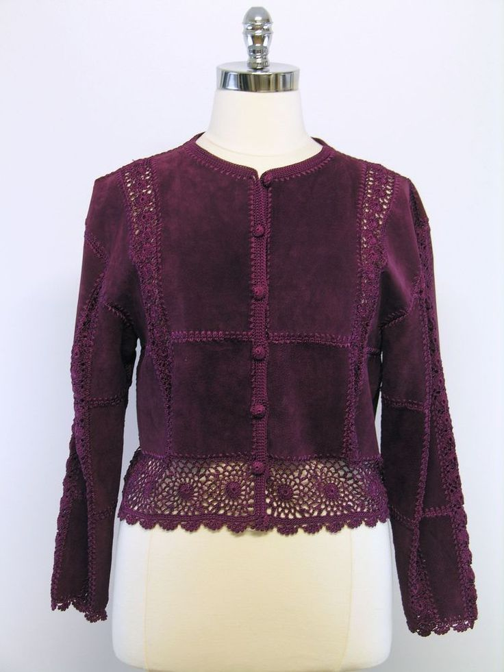 SMH - Size XL - Eggplant Purple Suede Leather and Crochet Patchwork Jacket #SMH #BasicJacket - 27.99 with free ship