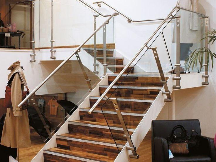 baranda de escalera de acero inoxidable y vidrio d line two point fixing by q
