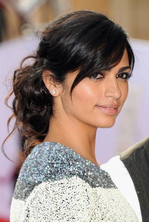 Easy Black Updo with Side Swept Bangs for Long Hair from Camila Alves | Hairstyles Weekly