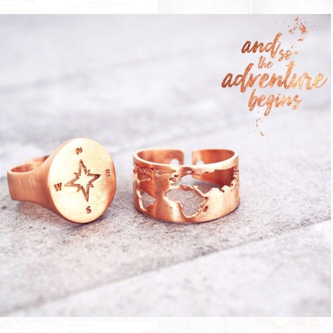 And so, the adventure begins...🌎🌍🌏  #worldring #traveltheworld #wanderlust #alwaystravel #handmadejewelry #adventure #traveling #travelmore #worldjewelry #traveljewelry #worldmap #compassring #compass #compassrose #chevalierring #rosegold #worldmapring