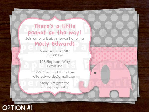 Personalized Pink and Grey Elephant Theme Baby Shower Invitation. $12.00, via Etsy.