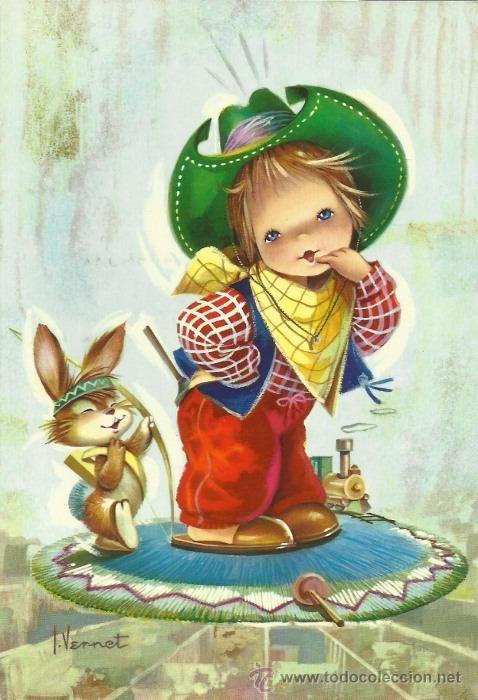 Ni o vestido de vaquero con conejito dib vernet ed - Ilustraciones infantiles antiguas ...
