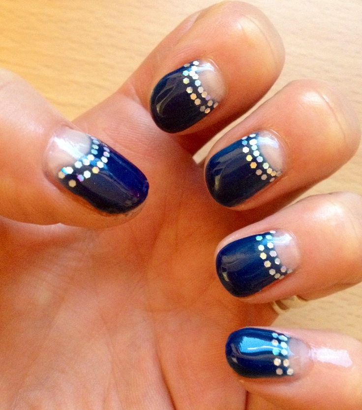 Navy blue halfmoon calgel manicure with holographic glitter by Caireen at Glitzy Nails