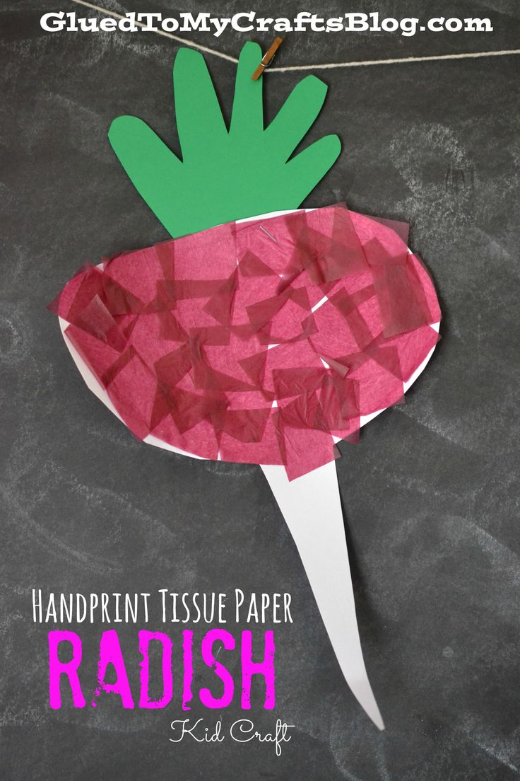 Plants arts and crafts - Handprint Tissue Paper Carrot Kid Craft