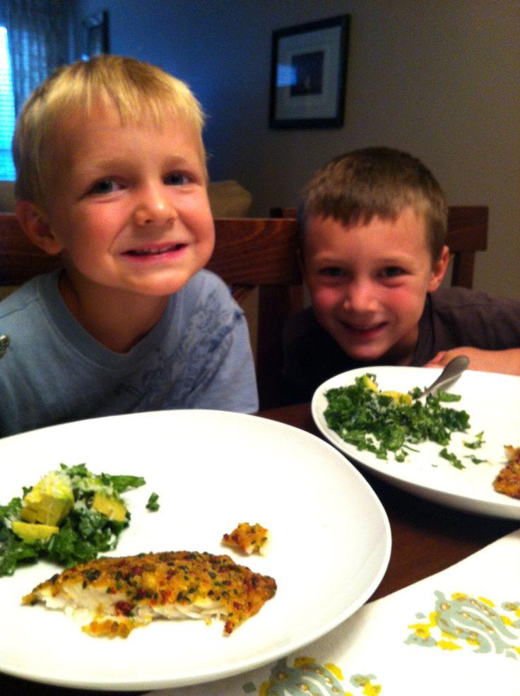 Nice job, mama, with the baked tilapia and kale/avocado salad!: Kids Friends