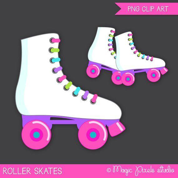 Patines De Rodillos Clipart Patinaje Sobre Ruedas Clip Art Etsy Roller Skate Invitations Roller Skating Party Roller