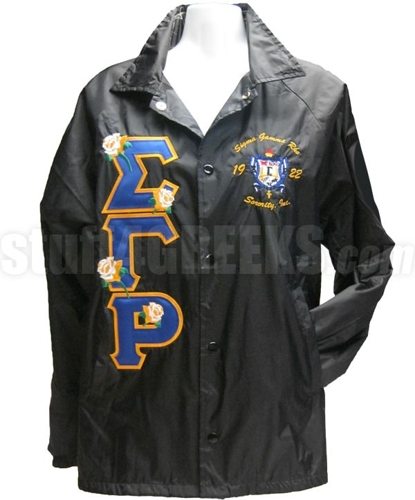Sigma Gamma Rho Greek Letter Line Jacket with Rose Thru and Embellished Crest, Black