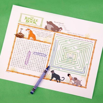 Jungle Book Activity Page. Great to have while traveling with children. There are several other mazes available for varying ages here. Make sure to download then print.