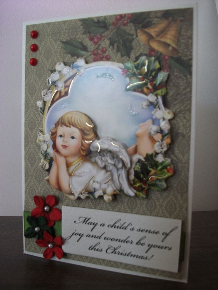 Angel Christmas Card using the Kaisercraft St Nicholas paper stack and Hearty Crafts Angel Topper.