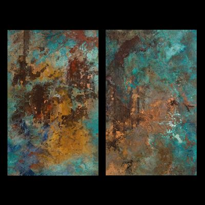 Copper canvases richly painted with patina inducing chemicals and highlighted with metal leafing
