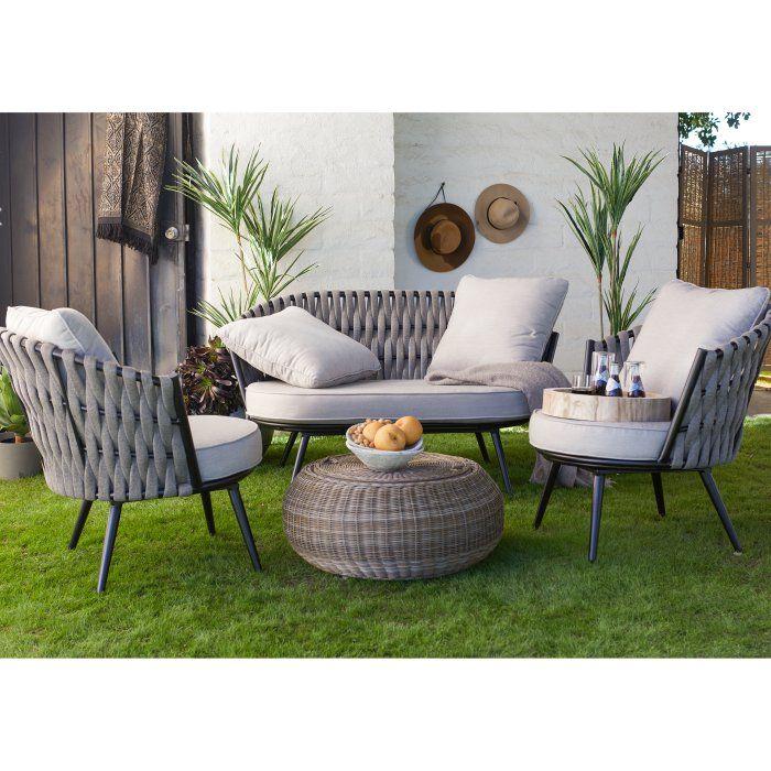 Belham Living Allaire Rope Weave 3 Piece Outdoor Patio Conversation Set Hayneedle Conversation Set Patio Woven Outdoor Furniture Outdoor Patio