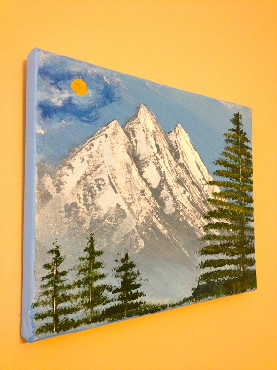 Original Painting  Mountains and Pine Trees by TimeandTurquoise, $50.00