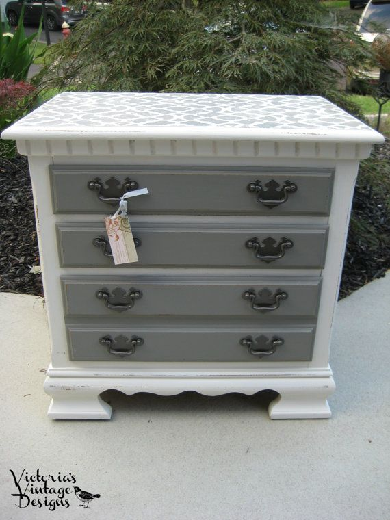 Hand Painted Night Stand/End/Side Table by VictoriasVintageDsgn, $70.00