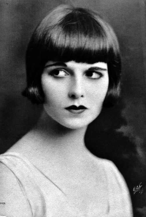 U.S.A. DANCE.  FASHION. Louise Brooks  ( 1906 –1985),  ca. 1923. She was an American dancer and actress, noted for popularizing the bobbed haircut. Brooks is best known as the lead in three feature films made in Europe, including two G. W. Pabst films: Pandora's Box (1929), Diary of a Lost Girl (1929), and Prix de Beauté (Miss Europe, 1930). She starred in seventeen silent films and eight sound films before retiring in 1935.