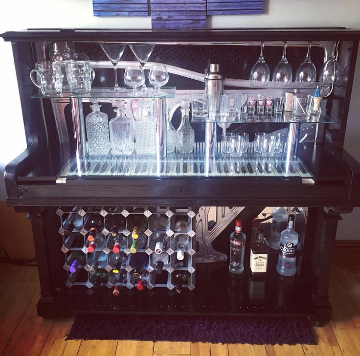Converted piano into home bar