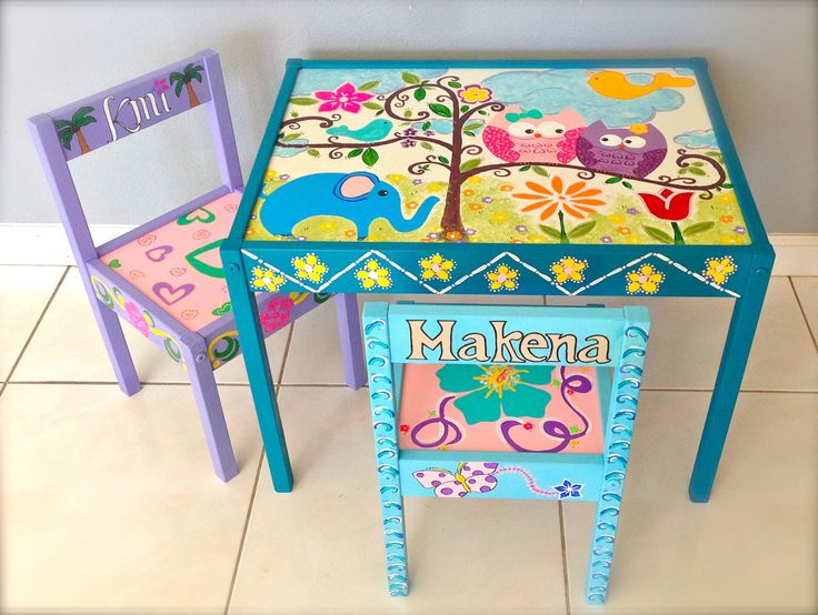 Baby Owls Play Table and 2 Chairs for by FiftyShadesofPaint, $199.99