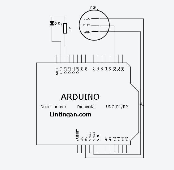 arduino pir schematic