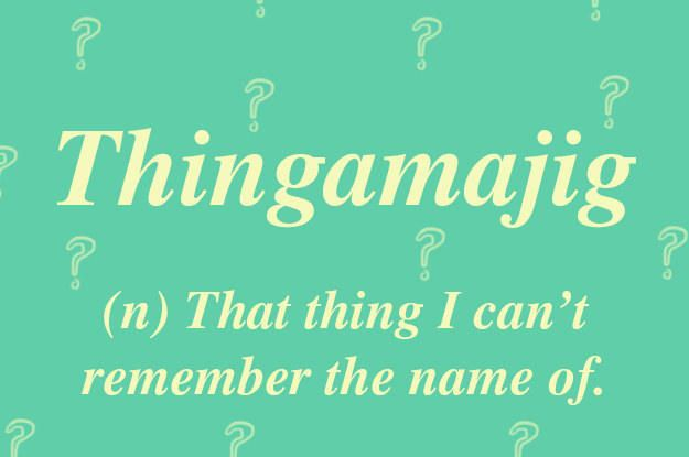 "A vital, essential word called upon several times a day to describe literally anything if you can't remember its name. ""Pass the thingamajig."" ""He was with thingamajig."" ""Ooh, it's over by the thingamajig."" Can be contracted to ""thingy"" when you can't even remember the word thingamajig."