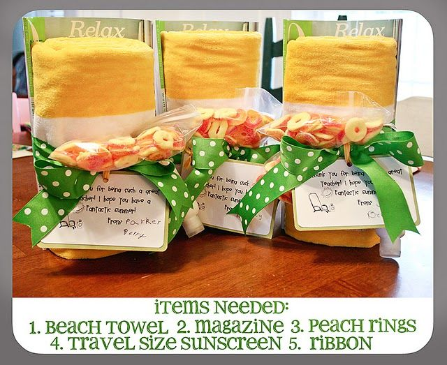 End of year Teacher Gift idea.  Beach towel, magazine, sweet treat, sunscreen & ribbon!  Did this last year for all my boys teachers as an end of year...fun & easy!