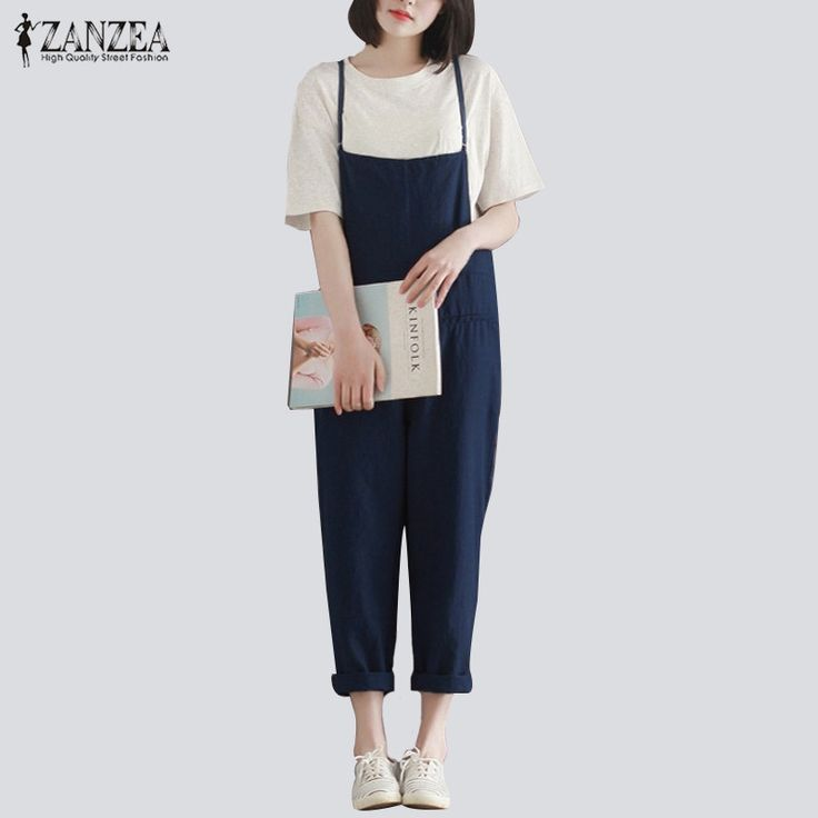 ZANZEA Retro Womens Rompers 2017 Ladies Jumpsuits Casual Solid Loose Spaghetti Strap Sleeveless Pockets Baggy Simple Overalls