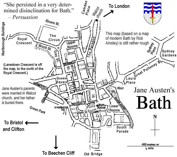 Important Places in Pride and Prejudice and Jane Austen's Life — Map File:Map of Bath, England. Description from 101travelmaps.com. I searched for this on bing.com/images