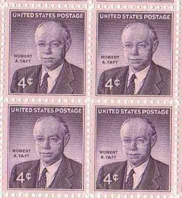 Robert A. Taft Set of 4 x 4 Cent US Postage Stamps NEW Scot 1161 . $0.89. One set of four (4)Robert A. Taft  4 x 4 Cent postage stamps Scot #1161
