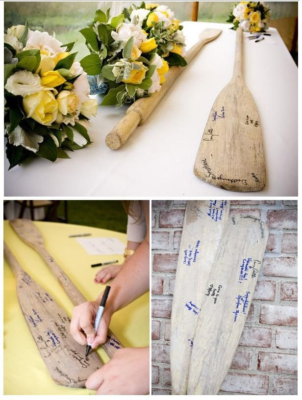 boat oar wedding guest book - could use as a guest book in your house too.