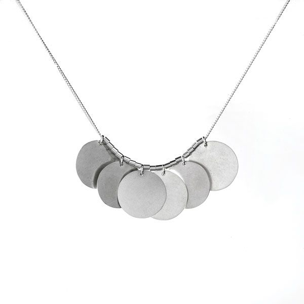 Sterling Silver Necklace with 6 Disks