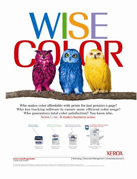 "Colorful Advertisements | One ad shows three colorful owls with the words ""Wise Color"" in ..."