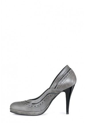Pantof gri din piele naturala model 128