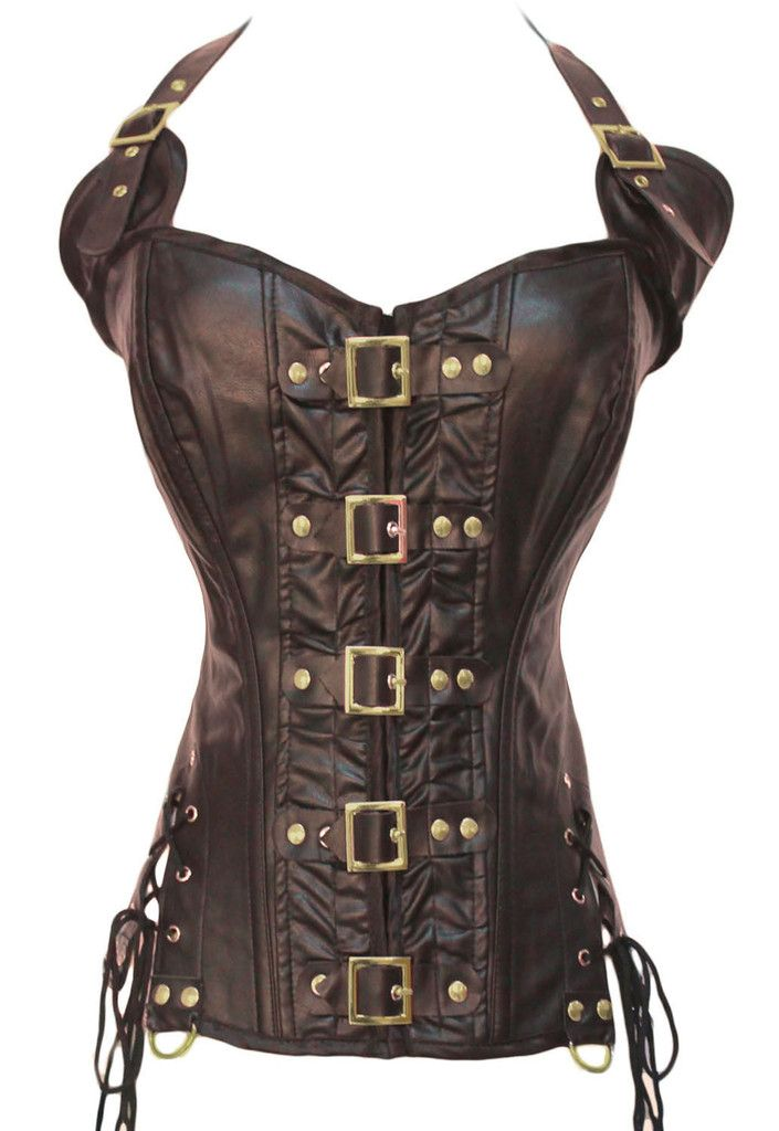 Take control and dominate in this sexy corset, detailed with buckles down the front bodice, an adjustable halterneck and lace up slits on both sides, designed in faux leather steampunk-style. Only the