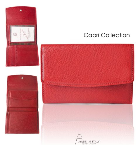 Capri Collection | Handcrafpted Leather Wallet | Made in Italy https://madeinitalyaccessories.com/capri-collection-in-red