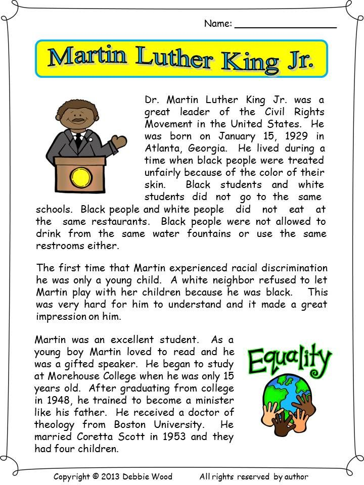 A Two Page Biographical Reading On Martin Luther King Jr This Lesson Also Includes 3