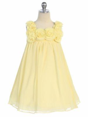Yellow Yoryu Chiffon Dress w/ Rose Buds