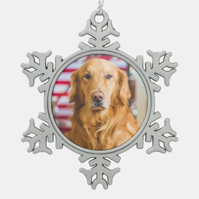 Golden Retriever Dog Portrait Snowflake Pewter Christmas Ornament