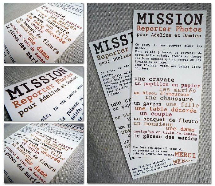 Décoration mariage - Mission reporter photos pour enfants